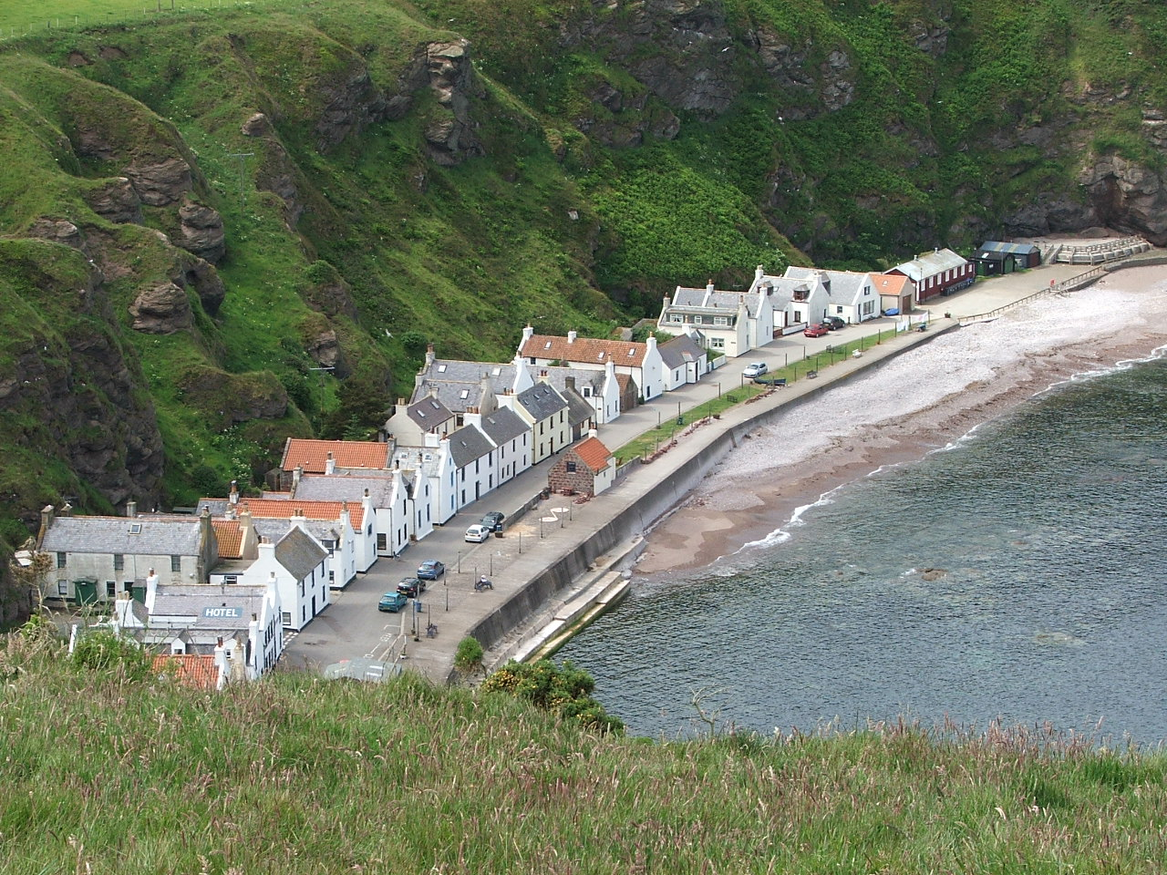 Photograph of Pennan village take from above high on the cliffs