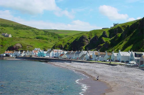 A photograph of Pennan bay taken from the west side of the village
